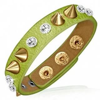 Náramok z kože - zelený prúžok s čírymi kameňmi a špicami zlatej farby