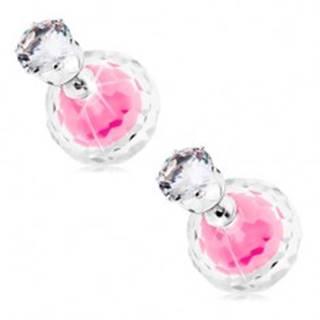Obojstranné náušnice striebornej farby, dve guľôčky - číra a ružová, zirkón