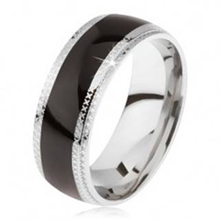 Oceľový prsteň, lesklý čierny stredový pás, ryhované okraje - Veľkosť: 59 mm