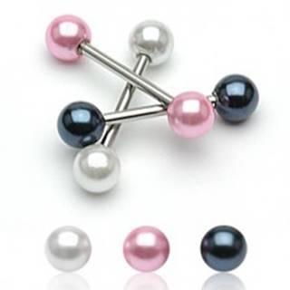 Piercing do jazyka s perleťovou guličkou - Farba zirkónu: Biela - W