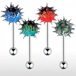 Piercing do jazyka so silikónovým farebným ježkom ohnivý vzor - Farba piercing: Čierná - Červená