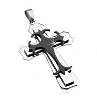Prívesok z chirurgickej ocele - veľký kríž, kombinácia čiernej a striebornej farby