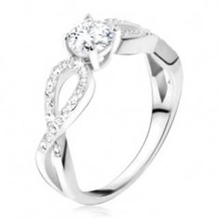 Prsteň s čírym okrúhlym kameňom, zirkónové slučky, striebro 925 T18.16 - Veľkosť: 48 mm