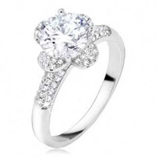 Prsteň s čírym zirkónovým kvetom, kamienky v ramenách, striebro 925 - Veľkosť: 50 mm