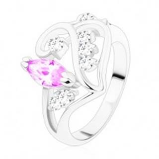 Prsteň s rozdelenými ramenami, ornament so svetlofialovým zrnkom R48.24 - Veľkosť: 49 mm