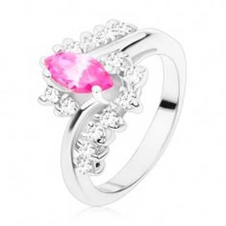Prsteň v striebornom odtieni s ružovým zrnkom a čírymi zirkónmi, zahnuté ramená R48.26 - Veľkosť: 49 mm