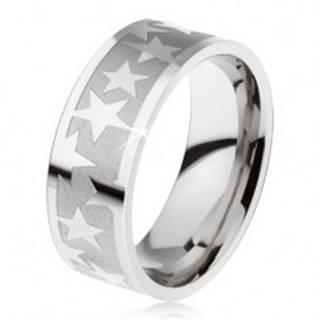 Prsteň z chirurgickej ocele, matný gravírovaný pás, lesklé hviezdy K3.13 - Veľkosť: 59 mm