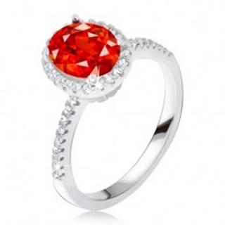 Prsteň zo striebra 925, vystúpený zirkónový kotlík, červený kameň T20.17 - Veľkosť: 50 mm