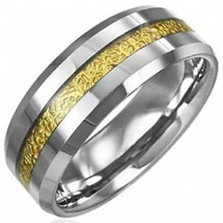 Tungstenový prsteň so vzorovaným pruhom zlatej farby, 8 mm D5.20 - Veľkosť: 49 mm