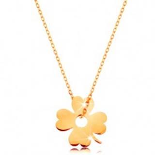 Zlatý 14K náhrdelník - ligotavá tenká retiazka, prívesok - štvorlístok pre šťastie