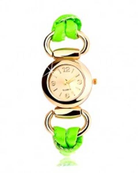 Analógové hodinky, okrúhly ciferník zlatej farby, latexový zelený remienok
