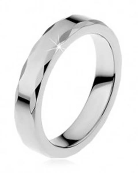 Dámsky wolfrámový prsteň so stužkovým okrajom - Veľkosť: 46 mm