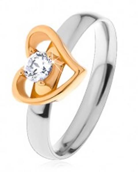 Dvojfarebný prsteň z ocele 316L - asymetrická kontúra srdca, číry zirkón S21.01 - Veľkosť: 49 mm