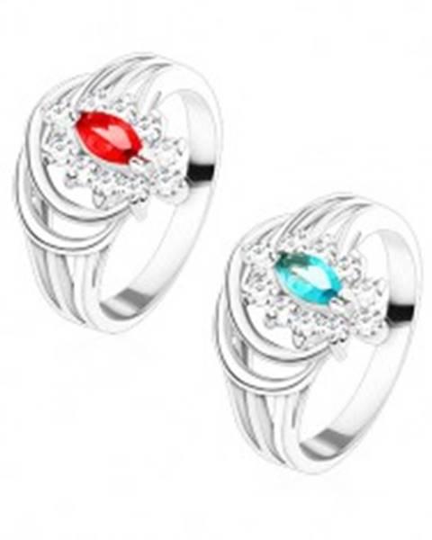 Lesklý prsteň s rozvetvenými ramenami, farebné zirkónové zrnko, oblúčiky - Veľkosť: 48 mm, Farba: Aqua modrá