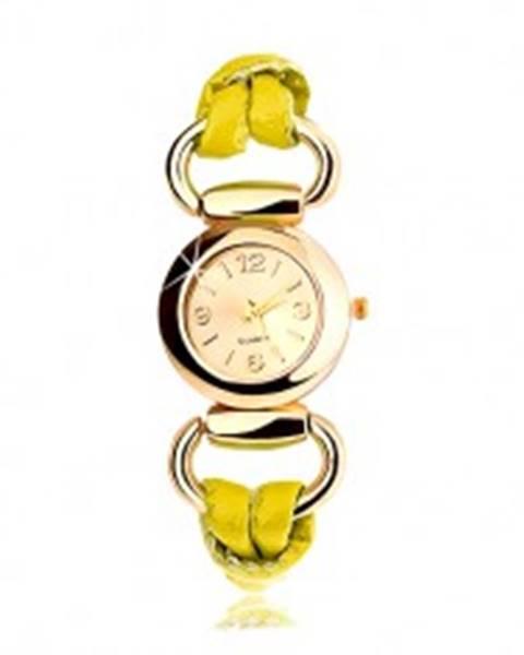 Náramkové hodinky, remienok zo žltého latexu, okrúhly ciferník zlatej farby