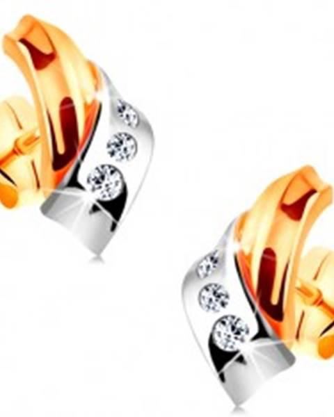 Náušnice v 14K zlate - prelínajúce sa dvojfarebné oblúky, pás drobných zirkónov