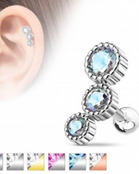 Oceľový piercing do tragusu, trojica okrúhlych farebných zirkónikov - Farba: Aqua modrá