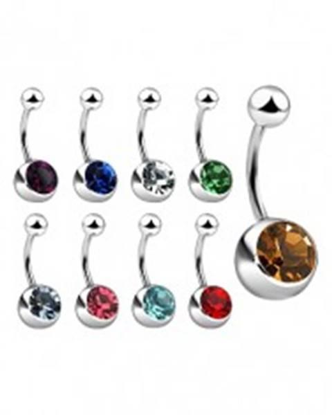 Piercing do pupku z ocele so zirkónom, rôzne farby - Farba zirkónu: Aqua modrá - Q
