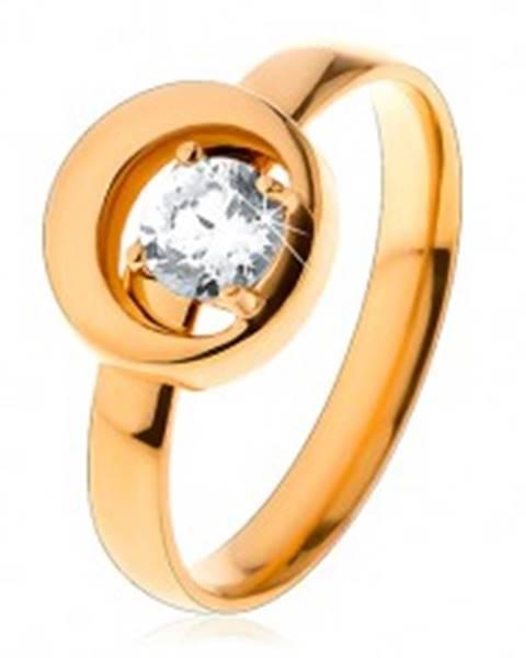 Prsteň z ocele 316L v zlatom odtieni, okrúhly číry zirkón v kruhu s výrezom S27.17 - Veľkosť: 49 mm
