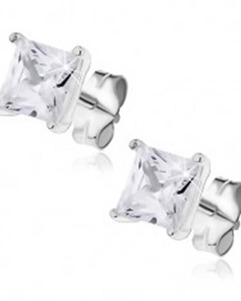 Strieborné náušnice - trblietavý štvorcový zirkón s dvojitým úchytom