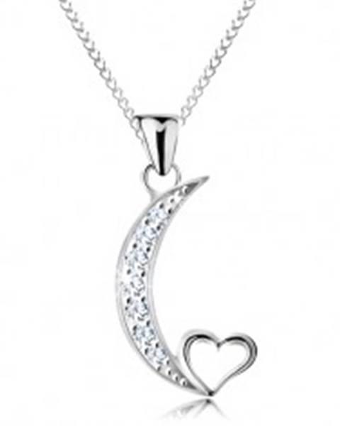 f9633b32a Strieborný náhrdelník 925, retiazka a prívesok, cíp mesiaca a obrys  srdiečka AC17.03