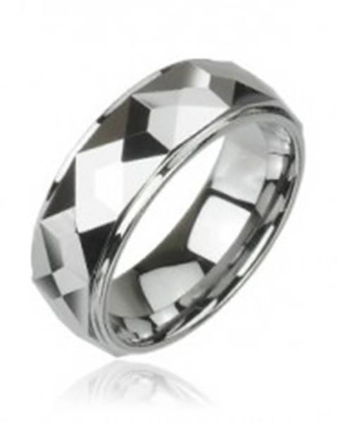 Volfrámový prsteň s vybrúsenými hranatými plochami, vysoký lesk, 8 mm - Veľkosť: 49 mm