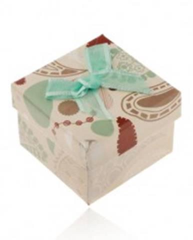 Krabička na prsteň, prívesok alebo náušnice, béžová s farebnými vzormi, tyrkysová mašľa Y02.10