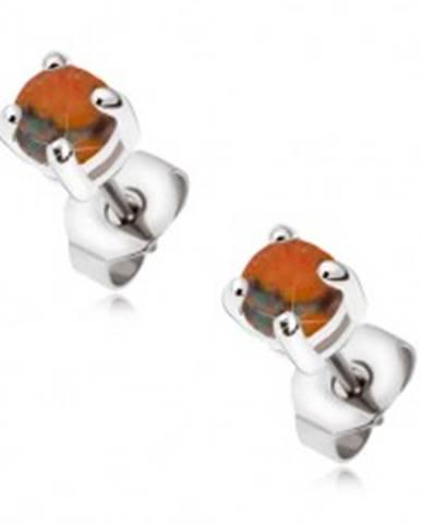 Oceľové puzetové náušnice s okrúhlym oranžovým opálom SP06.31