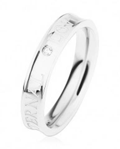 Oceľový prsteň striebornej farby, vyhĺbený stred, číry zirkónik, ETERNAL LOVE HH12.1 - Veľkosť: 49 mm