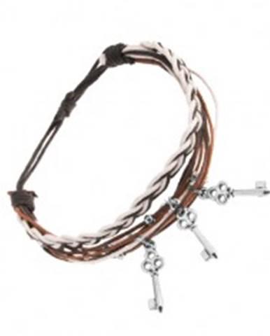 Pletený náramok, motúziky v hnedej, čiernej a bielej farbe, tri oceľové kľúčiky SP22.22