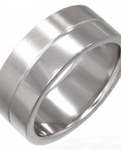 Prsteň z chirurgickej ocele s prúžkom v strede D17.5 - Veľkosť: 53 mm