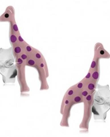 Strieborné náušnice 925, svetloružová glazúrovaná žirafa s fialovými bodkami