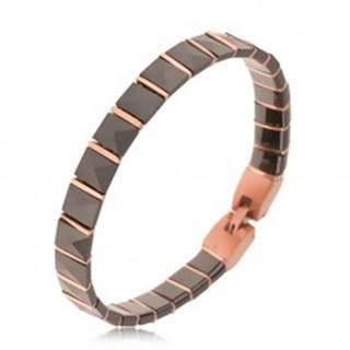 Čierny keramický náramok, pyramídové články, prúžky ružovozlatej farby S68.01