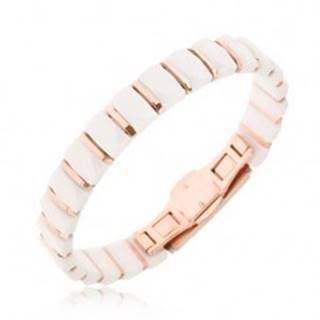 Náramok - biele keramické obdĺžnikové články, pásiky zlatoružovej farby Q16.3