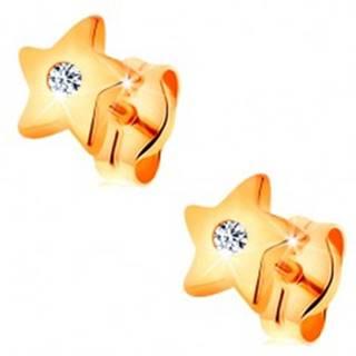 Náušnice v žltom 14K zlate - lesklé hviezdičky s čírym zirkónom uprostred