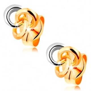 Náušnice zo 14K zlata - tri prepojené prstence, dvojfarebné prevedenie