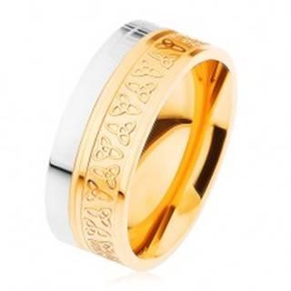 Obrúčka z chirurgickej ocele, strieborná a zlatá farba, keltské uzly C6.9 - Veľkosť: 54 mm