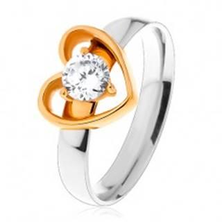 Oceľový prsteň - dvojfarebné prevedenie, tenká kontúra srdca, okrúhly číry zirkón S27.18 - Veľkosť: 49 mm