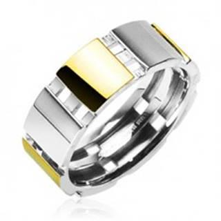 Oceľový prsteň s časťami zlatej farby - Veľkosť: 58 mm