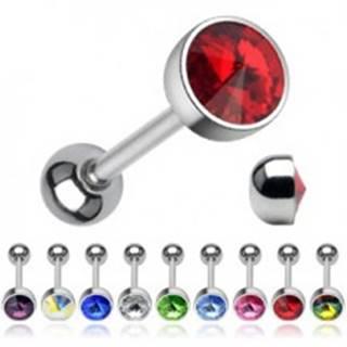 Piercing do jazyka - ligotavý krištáľ brúsený do špica - Farba zirkónu: Červená - R