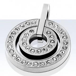 Prívesok z chirurgickej ocele, malý a veľký kruh so zirkónmi