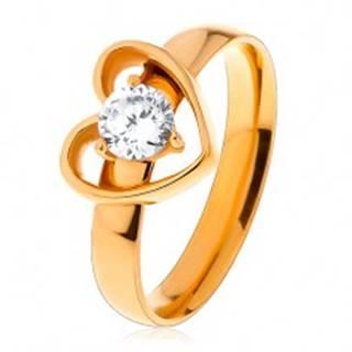 Prsteň z chirurgickej ocele zlatej farby, kontúra srdiečka s čírym zirkónom - Veľkosť: 49 mm