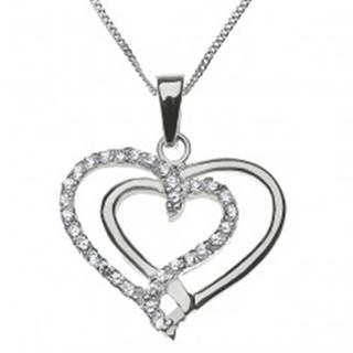 Strieborný náhrdelník 925 - prepletené hladké a zirkónové srdce