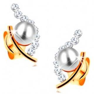Zlaté náušnice 585 - biela guľatá perla v neúplnom obryse zrnka, číre zirkóny