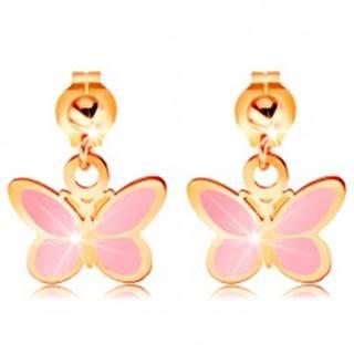 Zlaté náušnice 585 - lesklá gulička a visiaci ružový motýlik, glazúra