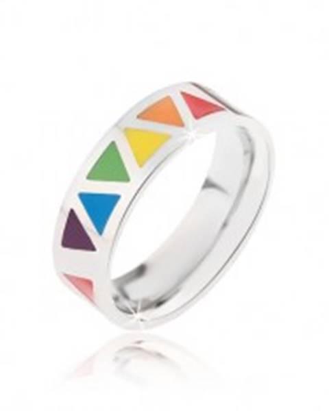 Lesklý oceľový prsteň s farebnými trojuholníkmi - Veľkosť: 52 mm