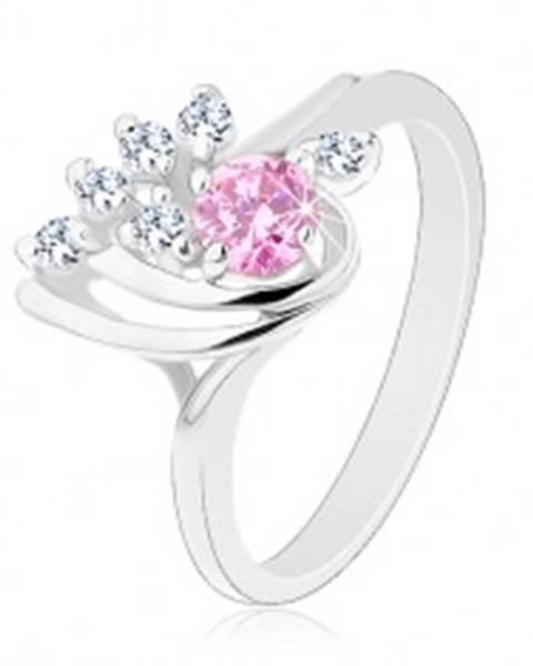 Ligotavý prsteň, asymetrická kvapka zdobená zirkónmi čírej a ružovej farby G15.12 - Veľkosť: 50 mm