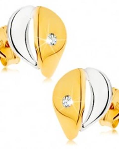 Náušnice z 9K zlata - širšia kvapka s čírym zirkónikom, dvojfarebné prevedenie  GG42.06