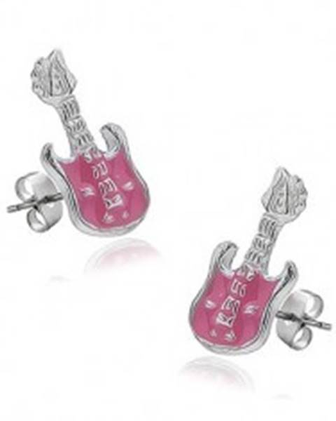 Náušnice zo striebra 925 - gitara s ružovou lesklou glazúrou