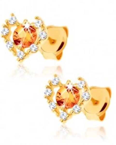 Náušnice zo žltého 9K zlata - číry zirkónový obrys srdca, žltý citrín